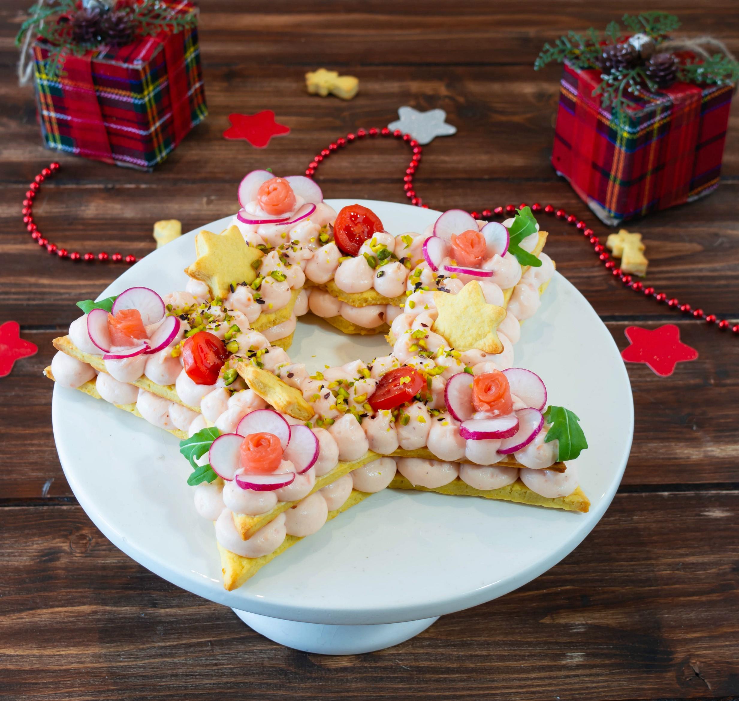 Cream tart salata con mousse al salmone